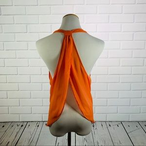 Bisou Bisou Sheer Orange Open Back Tank - Medium